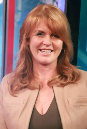 Sarah Ferguson wore her soft waves down during her appearance at the 'FOX & Friends.'