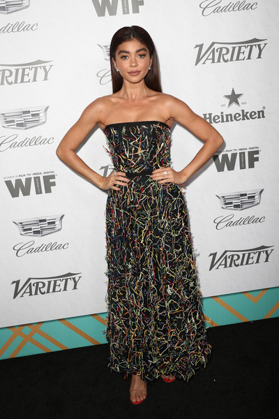 Sarah Hyland Strapless Dress [variety and women in film,variety and women in films 2018 pre-emmy celebration,dress,clothing,strapless dress,hairstyle,shoulder,fashion,cocktail dress,premiere,long hair,waist,sarah hyland,arrivals,west hollywood,california,cecconi,2018 pre-emmy celebration]