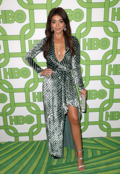 Sarah Hyland Strappy Sandals [clothing,dress,fashion,fashion model,long hair,carpet,shoulder,leg,cocktail dress,thigh,sarah hyland,official golden globe awards,california,los angeles,circa 55 restaurant,hbo,arrivals]