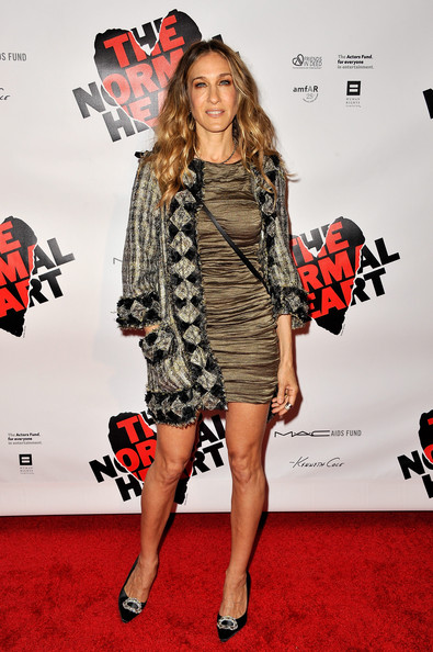 Sarah Jessica Parker Evening Coat [the normal heart,clothing,red carpet,carpet,premiere,fashion model,fashion,dress,flooring,footwear,event,sarah jessica parker,curtain call,new york city,the golden theatre,broadway,opening night - arrivals]