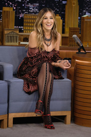 Sarah Jessica Parker gave her look a sexy boost with those studded tights when she appeared on 'Jimmy Fallon.'
