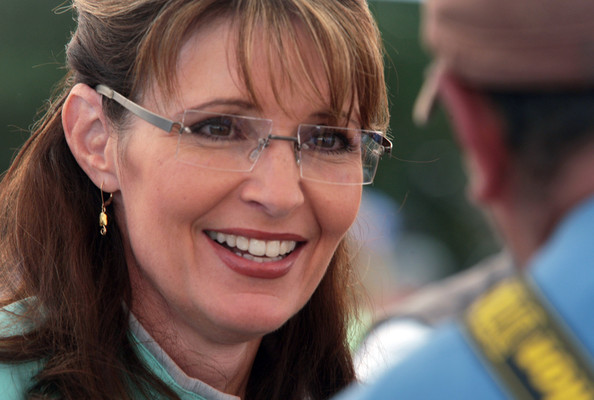 Sarah Palin Gold Dangle Earrings