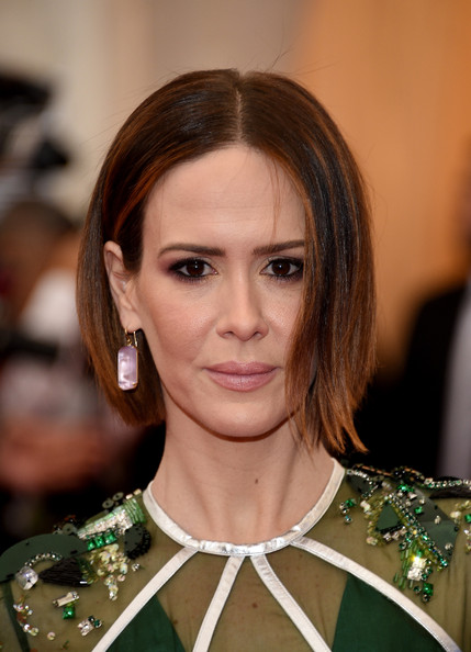 Sarah Paulson Dangling Gemstone Earrings