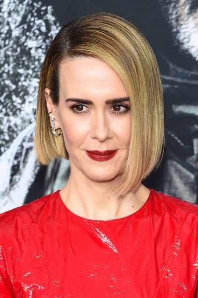 Sarah Paulson Red Lipstick [hair,face,hairstyle,blond,eyebrow,chin,beauty,lip,layered hair,forehead,sarah paulson,glass,new york,sva theater,premiere,new york premiere]