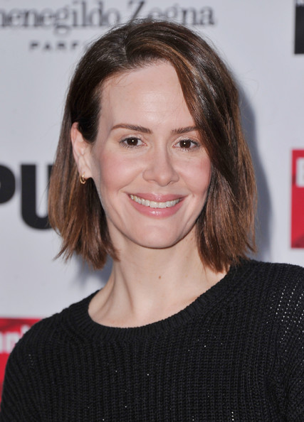 Sarah Paulson Bob [hair,face,hairstyle,eyebrow,chin,layered hair,premiere,brown hair,blond,long hair,arrivals,sarah paulson,opening night performance of ``king lear,public theater,new york city,delacorte theater,opening night performance of king lear]