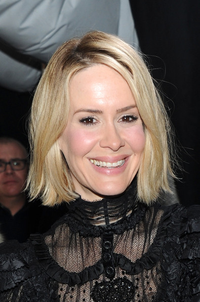 Sarah Paulson Bob [marc jacobs,sarah paulson,hair,blond,face,hairstyle,eyebrow,lip,beauty,chin,layered hair,smile,mercedes-benz fashion week,fashion show,lexington avenue armory,new york city]