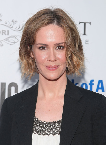 Sarah Paulson Curled Out Bob [twelfth night,hair,face,hairstyle,eyebrow,blond,long hair,premiere,lip,white-collar worker,layered hair,sarah paulson,arrivals,gala performance,shakespeare in the park,delacorte theater,new york city,shakespeare in the park opening night gala]