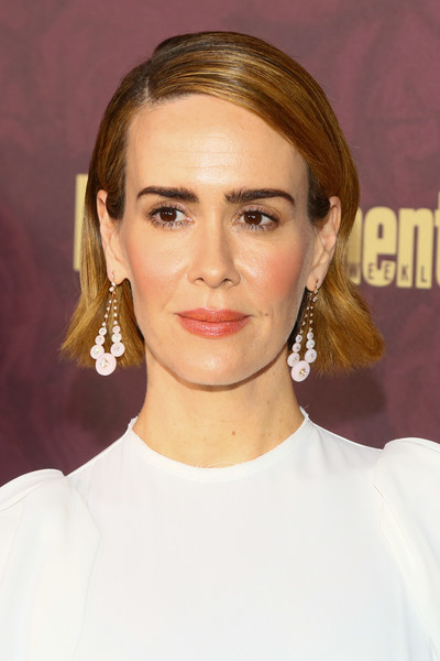 Sarah Paulson Short Side Part [hair,face,hairstyle,eyebrow,blond,chin,lip,beauty,forehead,cheek,arrivals,sarah paulson,sunset tower hotel,west hollywood,california,entertainment weekly,entertainment weekly pre-emmy party]