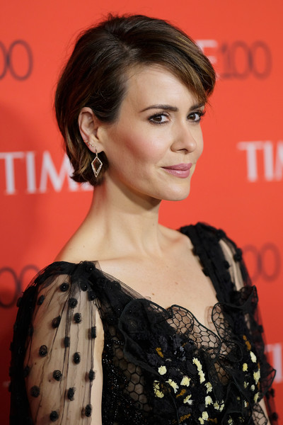 Sarah Paulson Short Side Part [red carpet,hair,fashion model,hairstyle,beauty,human hair color,eyebrow,shoulder,flooring,chin,long hair,sarah paulson,time 100,jazz,new york city,lincoln center]