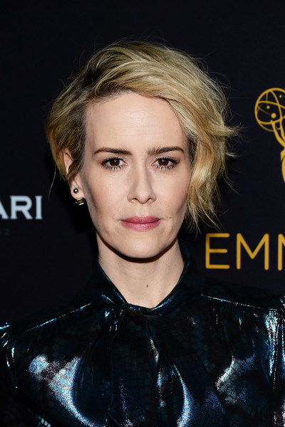 Sarah Paulson Short Wavy Cut [hair,face,hairstyle,eyebrow,blond,chin,lip,nose,cheek,forehead,sarah paulson,montage beverly hills,california,television academy,performers peer group celebration - arrivals,performers peer group celebration]