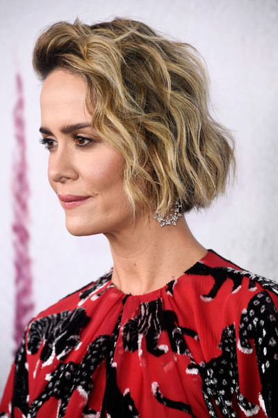 Sarah Paulson Short Wavy Cut [american horror story: cult,hair,human hair color,hairstyle,blond,beauty,fashion model,layered hair,long hair,hair coloring,brown hair,arrivals,sarah paulson,fx,for your consideration,beverly hills,california,wga theater,fyc,event]
