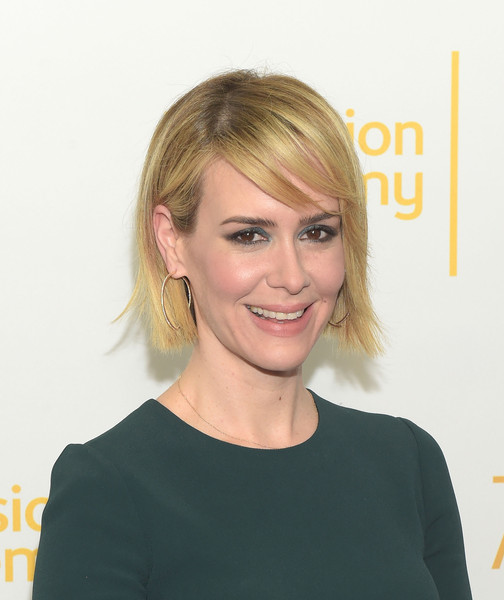 Sarah Paulson Side Parted Straight Cut [television academy presents an evening with the women of ``american horror story,hair,face,hairstyle,blond,eyebrow,head,chin,beauty,shoulder,forehead,arrivals,sarah paulson,the montalban,california,hollywood]