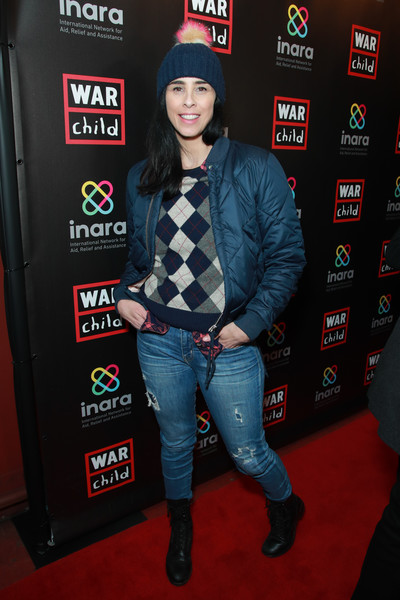 Sarah Silverman Ripped Jeans [good for a laugh comedy fundraiser to support children affected by war,good for a laugh,jeans,carpet,premiere,denim,jacket,flooring,outerwear,red carpet,children,sarah silverman,los angeles,california,largo at the coronet,comedy fundraiser,war]
