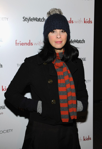 Sarah Silverman Knit Scarf [friends with kids,clothing,beanie,fashion,knit cap,outerwear,cap,headgear,fur,lip,black hair,cinema society people stylewatch,grey goose host,inside arrivals,sarah silverman,screening,grey goose,sva theater,new york city,screening]