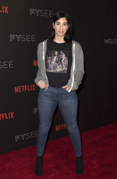 Sarah Silverman Hoodie [clothing,jeans,fashion,footwear,denim,premiere,carpet,leg,outerwear,flooring,arrivals,sarah silverman,author,producer,writer,a speck of dust,for your consideration,netflix,event,event]