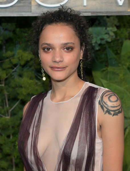 Sasha Lane Ponytail [hair,hairstyle,eyebrow,beauty,lip,shoulder,black hair,long hair,blond,brown hair,sasha lane,exclusive dinner,smogshoppe,los angeles,california,h m,conscious exclusive dinner]