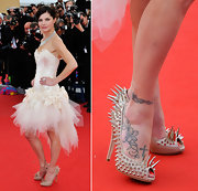 Delphine Chaneac looked edgy wearing spiky peep-toe pumps at the 'Madagascar 3:Europe's Most Wanted' premiere.