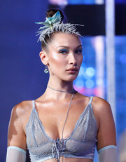 Bella Hadid made her eyes pop with bright blue shadow.