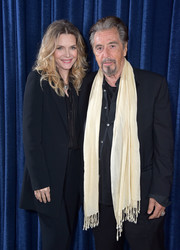 Michelle Pfeiffer donned an oversized jacket and matching pants for the 'Scarface' 35th anniversary cast reunion.