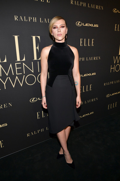 Scarlett Johansson Halter Dress [dress,clothing,little black dress,cocktail dress,fashion,shoulder,premiere,carpet,flooring,shoe,lexus - arrivals,26th annual women in hollywood celebration,ralph lauren,scarlett johansson,los angeles,beverly hills,california,the four seasons hotel,elle,lexus]