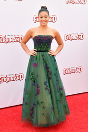 Gina Rodriguez looked princess-y in a strapless, feather-appliqued gown by Georges Chakra Couture at the screening of 'Ferdinand.'
