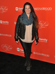 Holly Marie Combs sported a leather-on-leather look with this jacket and skinnies combo at the 'Pretty Little Liars' screening.