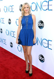 Jessy Schram went for a leggy look in a super-short cobalt lace dress during the 'Once Upon a Time' season 4 screening.