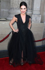 Lana Parrilla went for goth glamour at the 'Once Upon a Time' season 4 screening in a deep-V black gown with a voluminous tulle skirt.