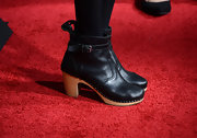 Ever Carradine wore a pair of black ankle booties with a wooden heel for her red carpet look.