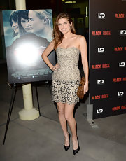 Lake Bell chose a nude strapless dress that featured floral lace detailing for her chic look at the 'Black Rock' screening in Hollywood.