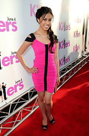 Ashley Argota showed off her hot pink dress while hitting the 'Killers' premiere.