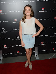Addison Timlin kept her red carpet look youthful and light with a light-wash denim skirt.
