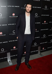 Jim Sturgess looked cool and casual in a navy suit at the 'Upside Down' screening.