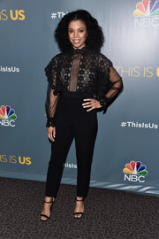 Susan Kelechi Watson completed her outfit with simple black ankle-strap sandals.
