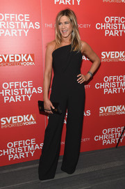 Jennifer Aniston went for easy sophistication in a black one-shoulder jumpsuit by Brandon Maxwell at the screening of 'Office Christmas Party.'