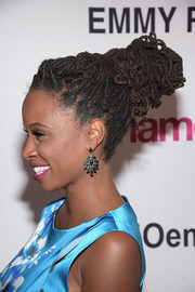 Shanola Hampton pulled her locs bac into a voluminous bun for the 'Shameless' screening and panel discussion.