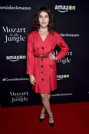 Lola Kirke kept it conservative in a long-sleeve fuchsia shirtdress at the 'Mozart in the Jungle' screening.