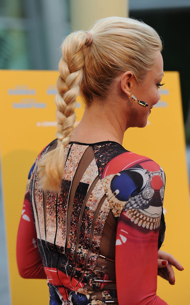 Charlotte Ross attended the screening of Samuel Goldwyn Films' 'A Good Old Fashioned Orgy' with a sleek, braided ponytail. It's a simple, cute 'do that doesn't compete with the graphic print of her eye-catching dress.