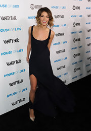 Dawn Olivieri looked sexy in a black wind-blown dress for the 'House of Lies' premiere.