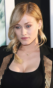 Olivia Taylor Dudley arrived for a screening of 'Chernobyl Diaries' wearing her blond hair in a shiny side-braid.