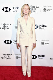 Saoirse Ronan showed off a perfectly tailored cream pantsuit by Michael Kors at the 2018 Tribeca Film Festival premiere of 'The Seagull.'
