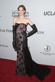 Jaime King went goth in a strapless patchwork lace gown during the launch of the Parker Institute for Cancer Immunotherapy.