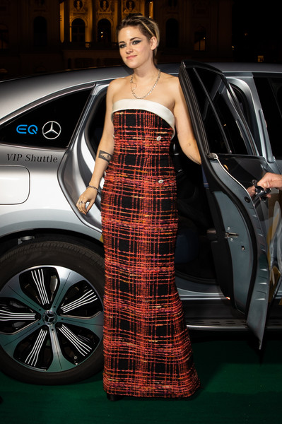 More Pics of Kristen Stewart Strapless Dress (1 of 95) - Kristen Stewart Lookbook - StyleBistro [seberg premiere,tartan,clothing,pattern,plaid,fashion,automotive design,fashion model,dress,beauty,design,kristen stewart,zurich,switzerland,kino corso,chanel,zurich film festival,premiere]