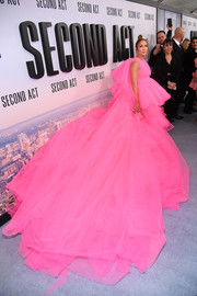 Jennifer Lopez covered the gray carpet in a sea of pink tulle at the world premiere of 'Second Act.'