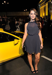 At the Art Mere soiree, Jessica Lowndes accessorized her darling chiffon frock with black peep-toe pumps.