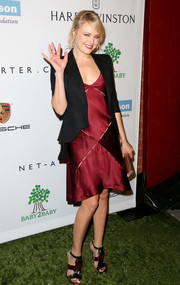 Malin Akerman continued the black-maroon theme via a pair of fringed evening sandals.