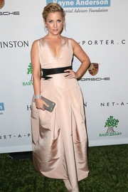 Jessica Capshaw looked sexy and sophisticated in a low-cut nude gown during the Baby2Baby Gala.