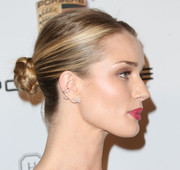 Rosie Huntington-Whiteley pulled her hair back in a sleek braided bun for the Baby2Baby Gala.