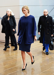 Ivanka Trump is known for her glamorous looks, like this one completed by a royal blue wool coat.