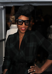 June Ambrose had her hair wrapped with a black silky turban at the Day 7 of 2011 MBFW.